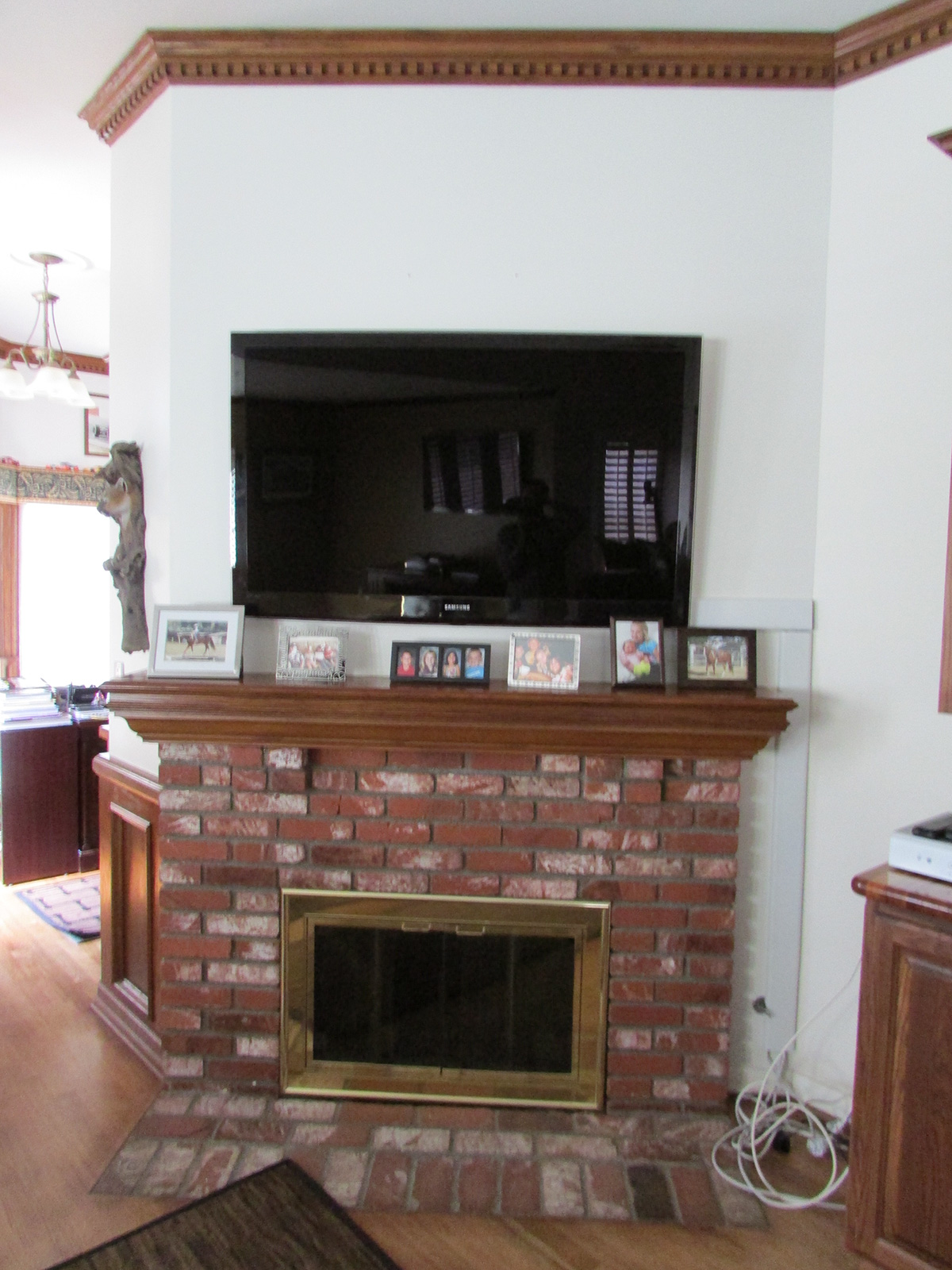 Living room fireplace view